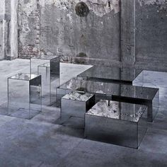 Rectangular crystal coffee table ILLUSION By Glas Italia design Jean-Marie Massaud. Mirror fades to transparent on these clean low tables. Stop by Graye and see today! Glass Furniture, Mirrored Furniture, Table Furniture, Furniture Design, Mirrored Table, Space Furniture, Coffee Table Design, Coffee Tables, Mirror Illusion