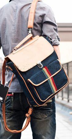 Casual Multifunctional Backpack Messenger Bag #canvasmessengerbag