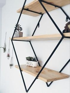 This awesome Diamond 3 Tier Shelf will be a perfect fit in any home, office or business Material: pine wood and steel Size: small size: / medium size: / large size: /