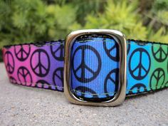 "1"" Adj.Quick Release Dog Collar - Retro Peace Rainbow - Sm, Med or Lge(Or as a Martingale) Choose webbing color. $20.00, via Etsy."