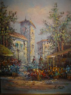 Architectural Botanical Impressionist Oil On Panel Signed L Frost Fun Art, Cool Art, City Scene, Impressionist Paintings, Modern City, Colorful Flowers, Cuba, Buildings, Sketch