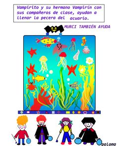 Ayudando a llenar un acuario infantil. the two little vampires and their friends help fill the water tank aquarium