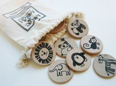 Make a Match Wood Matching Memory Game - Montessori Inspired - Waldorf Inspired - Zoo Theme Wood Toy - Natural Play - Wood Puzzle - Coins - Wooden toys - Spielzeug Games For Kids, Diy For Kids, Crafts For Kids, Play Wood, Memory Games, Montessori Toys, Wood Toys, Diy Toys, Educational Toys