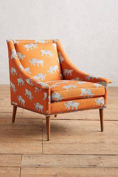 Have you seen a more stunning chair? | Safari Print Chair | Luke Edward Hall Sketched Safari Tillie Chair