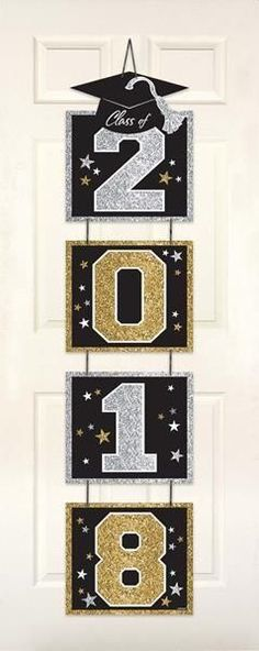 This Glitter Vertical Grad Door Decoration will be a perfect addition to your indoor decorations at the graduation party. Graduation Crafts, Graduation Party Planning, Kindergarten Graduation, Graduation Decorations, Graduation Party Decor, School Decorations, Grad Parties, Diy And Crafts, Crafts For Kids