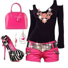 Pink & Black Fashion Style Ok so the shoes really keep drawing me in lol Funky Fashion, Girl Fashion, Fashion Outfits, Womens Fashion, Fashion Design, Sparkly Belts, Outfit Combinations, Passion For Fashion, Me Too Shoes