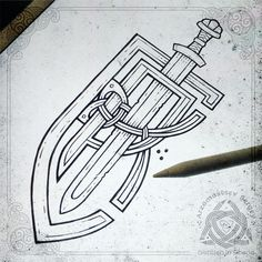 Cool Sketches, Tattoo Sketches, Sketch Art, Irish Tattoos, Celtic Tattoos, Viking Designs, Celtic Designs, Viking Drawings, Norse Tattoo