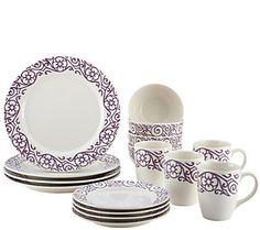 Rachael Ray 16-Piece Scroll Stoneware Dinnerware Set