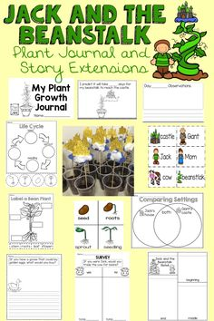 Jack and the Beanstalk unit is a great way to learn about plant growth through the story Jack and the Beanstalk. Sheets and ideas to make it easy and fun way to integrate science, math, writing and reading while learning about the story of Jack and the Beanstalk.