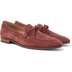 Tod's Suede Loafers ($695) ❤ liked on Polyvore featuring men's fashion, men's shoes, men's loafers, mens suede shoes, mens driver shoes, mens suede lace up shoes, burgundy mens shoes and mens suede driving shoes
