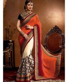 Sari Fashion Orange Blanc & Noir