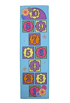 J  M Home Fashions Kids Hopscotch Play Rug Educational Rug Daisy 24Inch by 76Inch >>> Visit the image link more details.