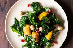 New Year Winter Salads - Hearty Kale Salad with Kabocha Squash, Pomegranate Seeds, and Toasted Hazelnuts (this article by Gena Hamshaw also has suggested variations)