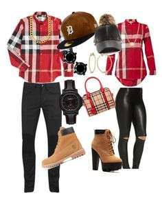 """""""Couples Picture Day Outfit"""" by turquoisewing ❤ liked on Polyvore featuring Burberry, Belstaff, Timberland, New Era, Allurez and Tiffany & Co."""