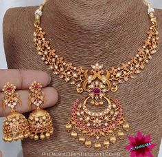 """South India Jewels """"Imitation necklace and jhumka from . For inquiries please contact the seller below. Jewelry Design Earrings, Gold Earrings Designs, Gold Jewellery Design, Necklace Designs, Gold Jewelry, Simple Jewelry, Gold Designs, Gold Necklaces, Clay Jewelry"""