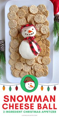 This easy Snowman Cheese Ball needs to be one of your Christmas appetizers! With only 2 ingredients, this recipe is perfect for a holiday party! Find more fun Christmas food ideas on our blog at LivingLocurto.com. Visit us for directions on how to make the winter snowman hat and scarf. It's so easy! Best Christmas Appetizers, Christmas Food Gifts, Appetizers For Party, Christmas Desserts, Christmas Holiday, Holiday Crafts, Christmas Ideas, Holiday Recipes, Party Recipes
