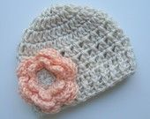 Crochet Baby Beanie Hat, Crochet Hat With Flower-Oatmeal, Light pink-MADE TO ORDER. $18.00, via Etsy.
