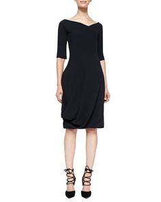 3/4-Sleeve Dress with V\'d Neck & Bubble Skirt, Black by Alexander McQueen