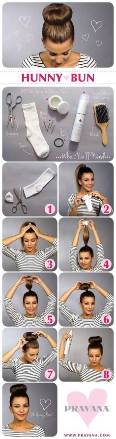 This is a start to finish picture tutorial of how to make the sock bun and then create the sock bun in your hair.