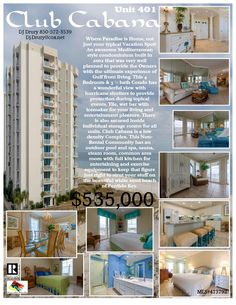 Club Cabana Unit#401... $535,000... 4bedrooms, 3baths... Non-Rental Complex Beautiful Mediterranean Style Condo Unit on Perdido Key's Gulf of Mexico! Contact DJ Drury @850-572-3539 or email  dj.drury@cox.net for more info