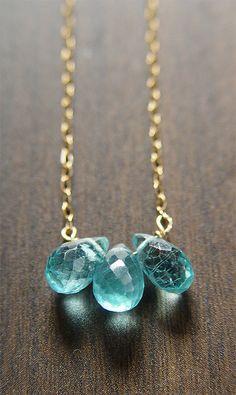 Apatite Teardrop Gold Necklace