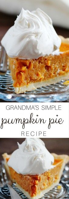 Simple pumpkin Pie ~ I Am Baker