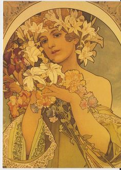 Woman with lily headdress by Alphonse Mucha