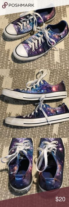 Converse galaxy shoes unisex Worn a bit. Small tare on back right shoe heel. Minor dent in front of right shoe. Great condition overall. Men's size 6 or woman's size 8. Awesome galaxy print Converse Shoes Sneakers