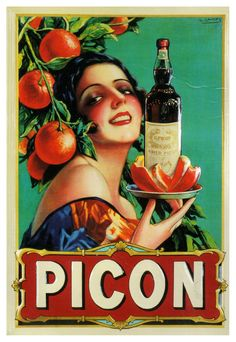 French aperitif G. Picon/Amer Picon advertisement illustrated by Gaspar Camps. Via.
