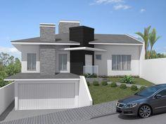 Projeto residencial desenvolvido pela empresa Sólida Engenharia com sede em Imbituva - PR My House Plans, House Layout Plans, House Layouts, Aluminium Front Door, Modern House Facades, Garage House, Villa, Exterior Design, Future House
