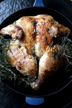 Crispy Roast Butterflied Chicken with Rosemary and Garlic (Cast Iron Skillet Method)