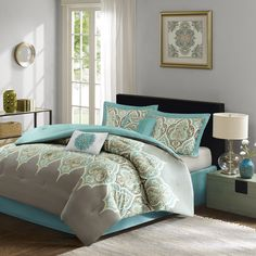 Give your room a fresh, global look with the Maya collection. The 6 piece comforter set features an over scale paisley pattern in greys, teal, and a…