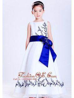 Pretty White and sapphire Blue flower girl dress fashionos.com
