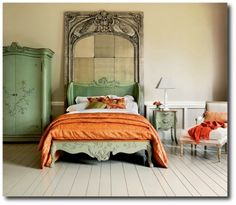 Italian Green Painted Bedroom Set. LOVE the bed frame