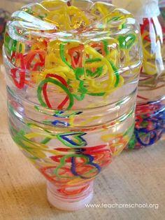 Teach Preschool: Rubber loom bands in a discovery bottle Fun Classroom Activities, Dementia Activities, Activities For Kids, Classroom Ideas, Preschool Crafts, Crafts For Kids, Teach Preschool, Preschool Ideas, Craft Ideas