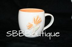 Starbucks 2006 White Orange Flower 3D Raised Coffee Mug Peach Green Glossy Cup | eBay