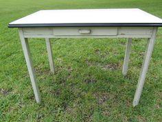 Antique Enamel Top Table, Wood Furniture, Porcelain Table Top, Shabby Chic Decor, Farm House Decor,