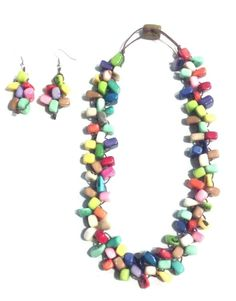 Multicolor piedritas tagua nut necklace with earrings