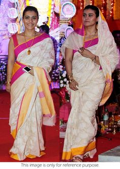 Bollywood Actress Kajol Cotton Silk Saree In White And Pink Color