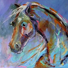 BLUE HORSE Painting Giveaway, by a Texas Artist Laurie Pace, painting by artist Laurie Justus Pace