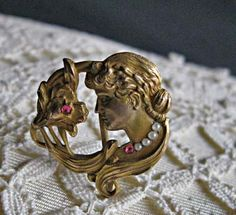 Art Nouveau womans face watch pin rubies and seed by GemParlor, $110.00