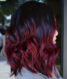 Bright Burgundy Balayage with Black Roots