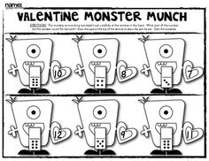 (sample page) VALENTINE MONSTER MATH PACK! Work Pages and Games - Supports Common Core. $