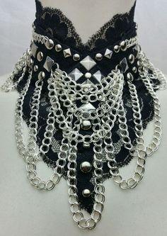 Gothic  Halsband Collier Kette Spitze Choker Victorian Lolita Steampunk Top Rock