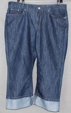 Merona Denim Crop Sz 14R Fit 1 Flip Cuff Womens Jeans #Merona #CapriCroppedCapriCropped