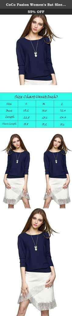 """CoCo Fasion Women's Bat Sleeve Round Neck Fine Knitted Pullover Sweaters (Large, Navy). The story of brand: """"CoCo fashion"""" are a professional factory specializing in things of fashion. Our main products are Evening dresses, Bandage dress,Party dress,Lady dress,Cocktail dress, Prom dress,Formal dresses,jacket with top quality and fair factory price.Our customers are from all over the world,especially from UK,USA,FRANCE.ITALY..."""