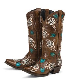 767b5600ec82a3 Cimarron - Brown with a Dusty Creme Rose and Turquoise Accents - Black Star  Western Boots