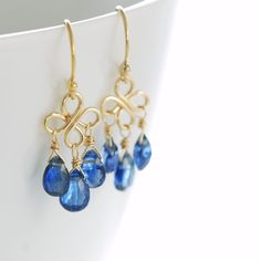 September Birthday Blue Gemstone Chandelier Earrings, 14k Gold Fill Kyanite Dangle Clovers Handmade, aubepine. $63.00, via Etsy.