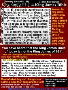 Changes in the King James Bible? Font, spelling and printer errors make up the vast majority of these claims! The King James is the perfect Word of God in English! Christian Spiritual Quotes, Bible Translations, New Bible, Bible Study Journal, King James Bible, Bible Truth, Trust God, Bible Verses, Scriptures