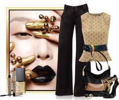 """Black and Gold"" by johnna-cameron on Polyvore"